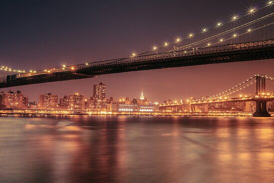 Night - New York City - Two Bridges by Vivienne Gucwa
