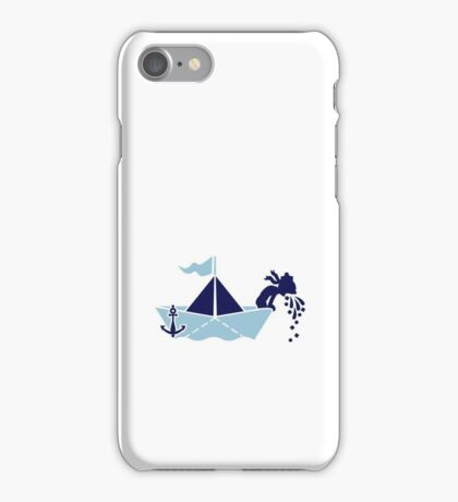 Seasick: Barfing Sailor on a Paper Boat VRS2 iPhone Case/Skin