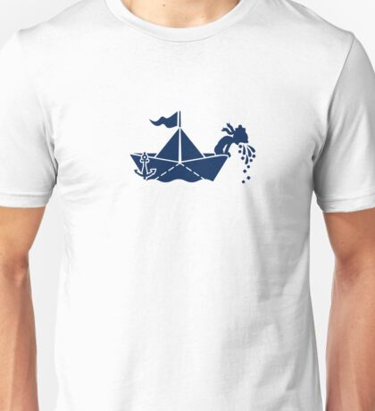 Seasick: Barfing Sailor on a Paper Boat VRS2 T-Shirt
