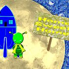 A Little Girl Green Alien Home Sweet Home  by Dennis Melling