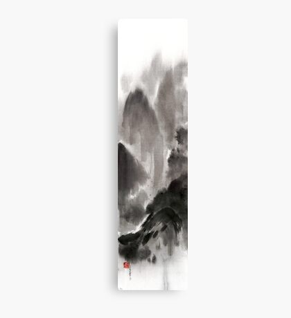 Mountain view sky snow and clouds landscape sumi-e original ink painting Canvas Print
