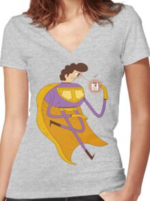 Man of Tea Women's Fitted V-Neck T-Shirt