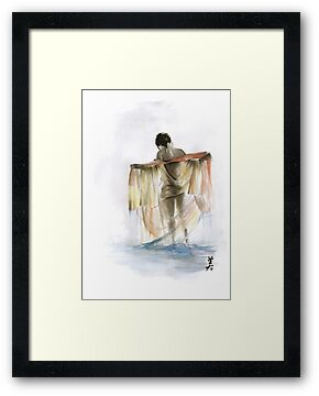 Japanese nude geisha woman wearing asian oriental colorful kimono original watercolor painting  by Mariusz Szmerdt