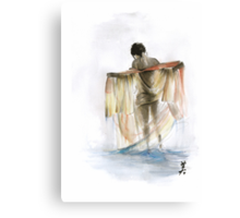 Japanese nude geisha woman wearing asian oriental colorful kimono original watercolor painting  Canvas Print