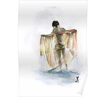 Japanese nude geisha woman wearing asian oriental colorful kimono original watercolor painting  Poster