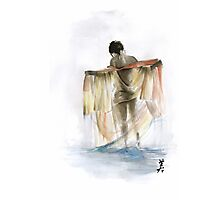 Japanese nude geisha woman wearing asian oriental colorful kimono original watercolor painting  Photographic Print