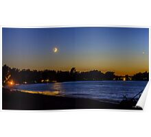 Crescent Moon Setting Over Crescent Beach Poster