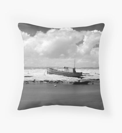 Boat at Burnham-on-Sea estuary. Throw Pillow