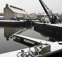Snowfall, Bridgwater Docks. by Antony R James