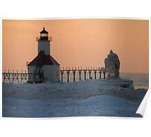 Sunset on Lake Michigan at St Joseph North Pier - 7 Poster
