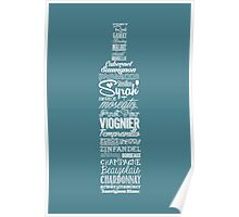 Wineography (Teal Gray) Poster