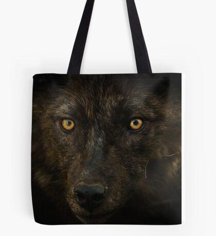 Midnights Gaze - Black Wolf Wild Animal Wildlife Tote Bag