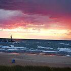 Sunset on Lake Michigan at St Joseph North Pier - 3 by Debbie Mueller