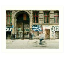 Bike riding through the streets of Berlin  Art Print