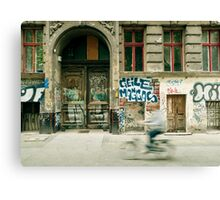Bike riding through the streets of Berlin  Canvas Print