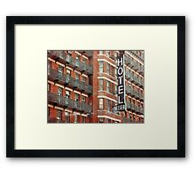 Facade of the Chelsea Hotel with neon sign  Framed Print