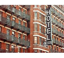 Facade of the Chelsea Hotel with neon sign  Photographic Print