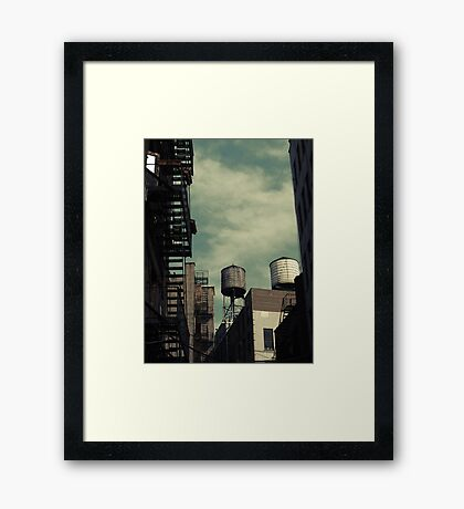 New York City roofs and water towers in Kodachrome Framed Print