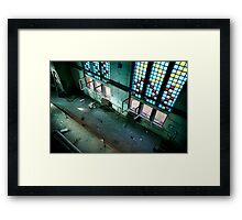 Incredible industrial interior with huge floor - to - ceiling colored windows Framed Print