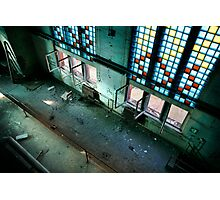 Incredible industrial interior with huge floor - to - ceiling colored windows Photographic Print