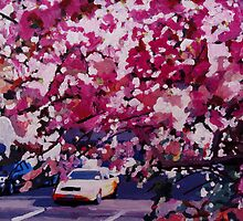 Cab and Flower Trees in New York City by artshop77