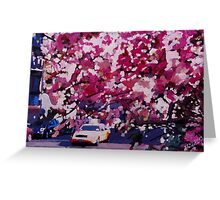 Cab and Flower Trees in New York City Greeting Card