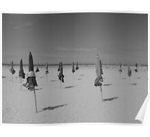 The parasols of Deauville - black & white Poster