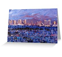 San Diego Skyline with Marina at Dusk Greeting Card