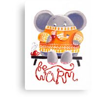 Be Warm! - Rondy the Elephant in his favorite sweater Metal Print