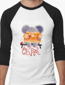 Be Warm! - Rondy the Elephant in his favorite sweater Men's Baseball ¾ T-Shirt