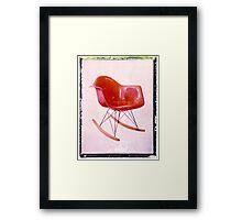 Midcentury Eames era orange rocker art print vintage mod wall decor Framed Print