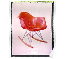 Midcentury Eames era orange rocker art print vintage mod wall decor Poster