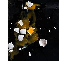 Egg universe - broken egg on a dark background Photographic Print