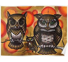 brown owls on branch, tattoo design Poster