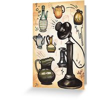 antique telephone, teapots and bottles Greeting Card