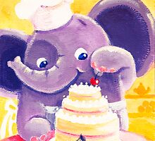 Baking - Rondy the Elephant making a delicious cake by oksancia