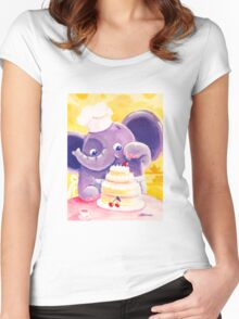 Baking - Rondy the Elephant making a delicious cake Women's Fitted Scoop T-Shirt