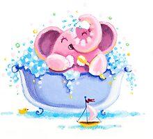 Bath Time - Rondy the Elephant taking a bubble bath by oksancia