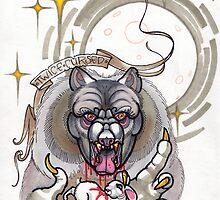 werewolf with rabbit prey, grey, cursed by resonanteye