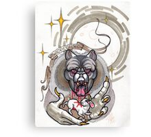 werewolf with rabbit prey, grey, cursed Canvas Print
