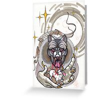 werewolf with rabbit prey, grey, cursed Greeting Card