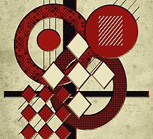 Which Way Is Up - Red And Beige by SRowe Art