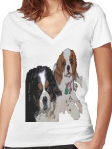 Cavalier King Charles dogs Women's Fitted V-Neck T-Shirt
