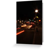 Main street America at dusk Greeting Card