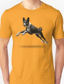 Leaping Black and White Basenji T-Shirt