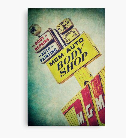 MGM Auto Body Shop Vintage Sign Canvas Print