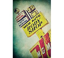 MGM Auto Body Shop Vintage Sign Photographic Print