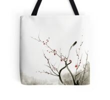 Sakura cherry blossom pink and red flowers tree watercolor original ink painting Tote Bag