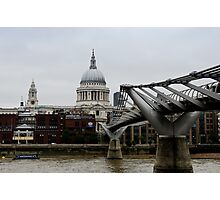 St Paul's Cathedral, London and the Millennium Bridge Photographic Print
