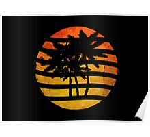 Palm Trees Grunge Sunset Poster
